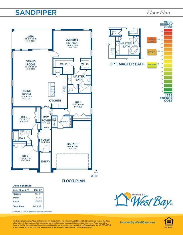 Sandpiper model home by Homes by WestBay floorplan