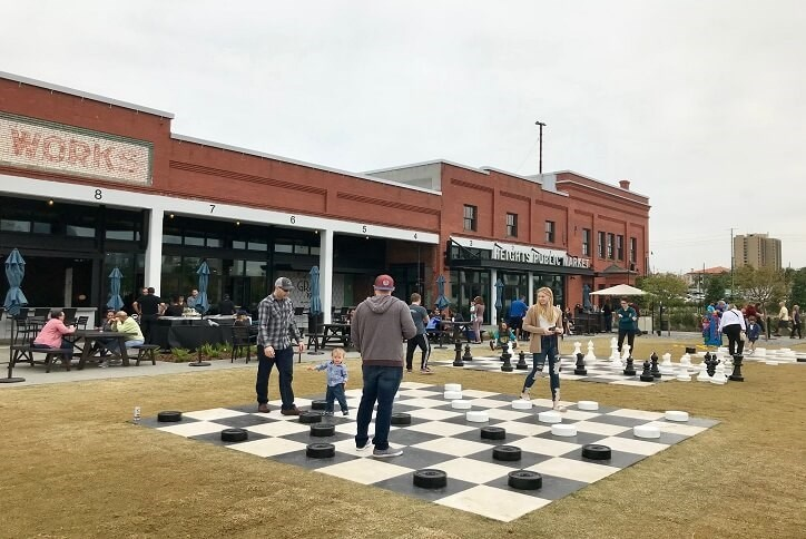 giant checkers on lawn at armature works in Tampa, FL