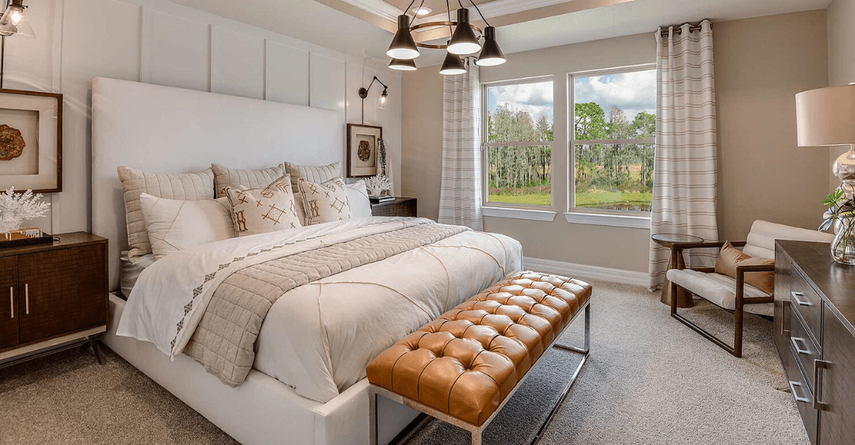Picture of master bedroom in Driftwood model home in Bexley by Pulte Homes