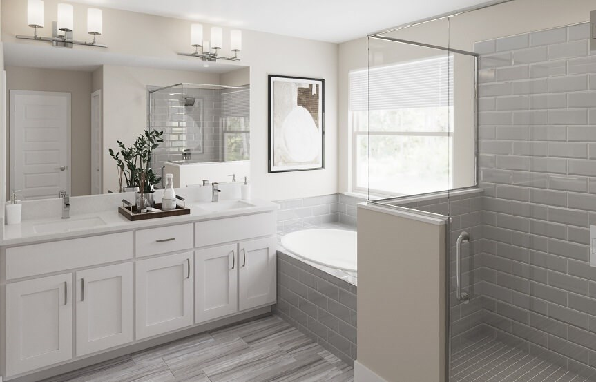 Master bathroom in New Hampshire home plan by Lennar in Bexley Land O Lakes, FL