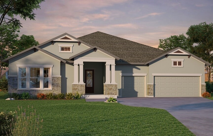 Exterior elevation of Boulevard home plan by David Weekley Homes in Bexley